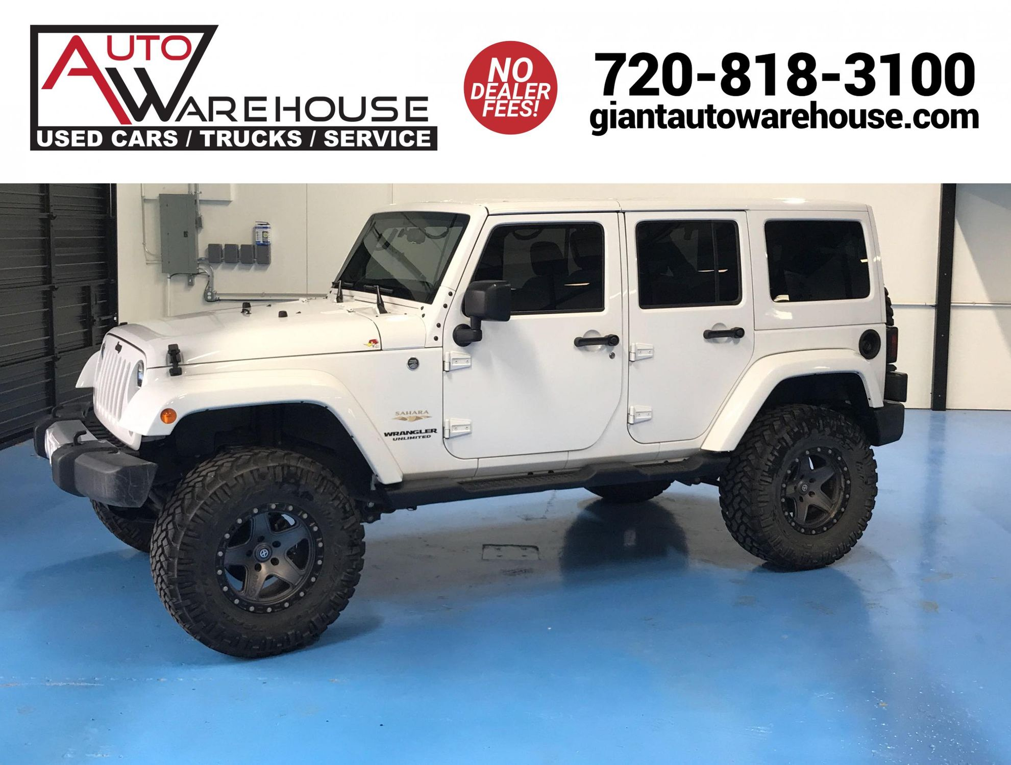 2014 Jeep Wrangler Unlimited Sahara Auto Warehouse White Lifted With Tire Carrier And Led Tail Lights Beauty