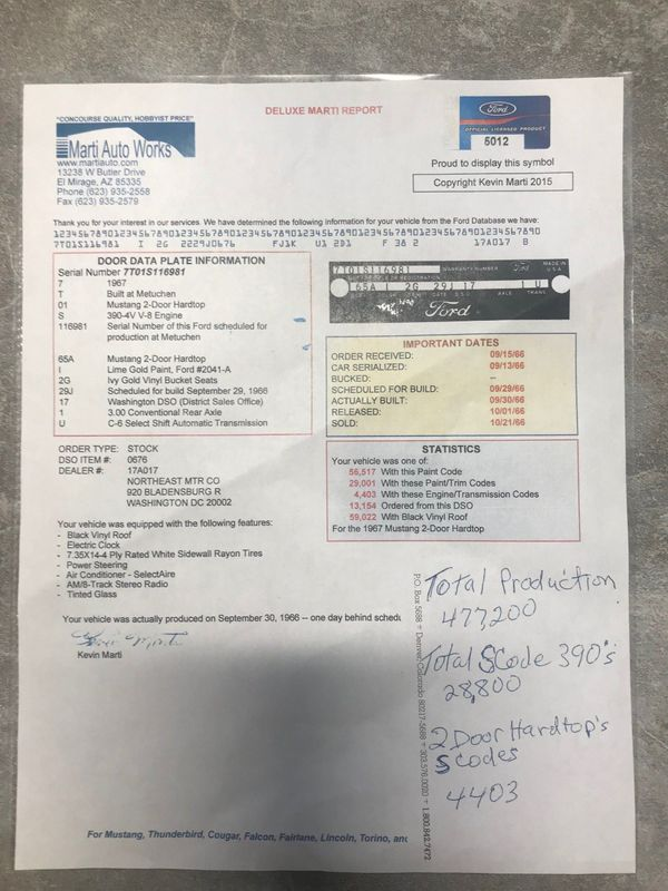 Details about 1967 Ford Mustang S Code