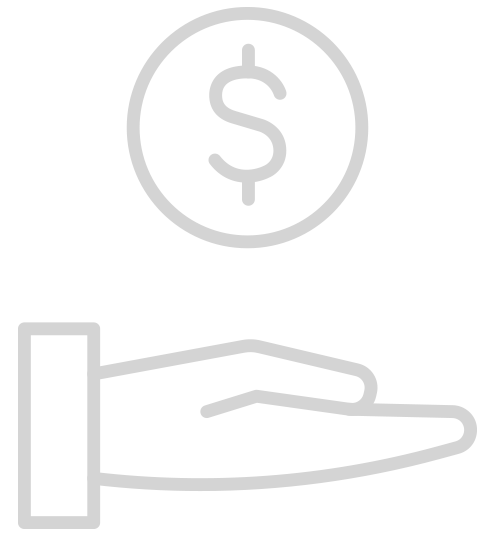 Icon of Hand Holding Dollar Symbol representing Finance Department